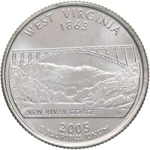 2005 D STATE QUARTER WEST VIRGINIA BU CN CLAD US COIN
