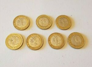 MEXICO $10 PESOS   BI METAL STERLING SILVER COIN   LOT OF 7  VARIOUS YEARS 1