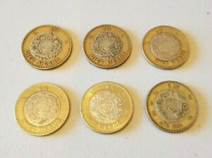 MEXICO $10 PESOS   BI METAL STERLING SILVER COIN   LOT OF 6  VARIOUS YEARS 2