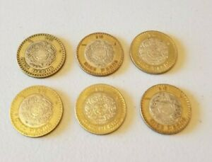 MEXICO $10 PESOS   BI METAL STERLING SILVER COIN   LOT OF 6  VARIOUS YEARS 3