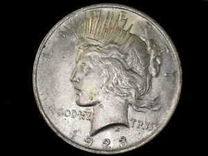 1923 SILVER PEACE $ LAMINATION AND STRIKE THRU ERROR XF SEE INFO AND PICS