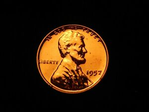 US 1957 P LINCOLN WHEAT CENT RED PROOF UNC
