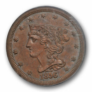 1856 1/2C BRAIDED HAIR HALF CENT PCGS MS 63 BN UNCIRCULATED BROWN BETTER DATE