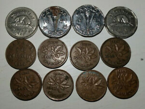 WORLD COIN LOT 10 COINS OF CANADA NICKELS AND PENNIES 5 CENT AND 1 CENT PIECES