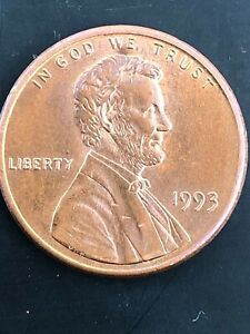 1993 LINCOLN CENT .   NO MINT MARK THE LETTERS ARE NOT FULL.   ERROR