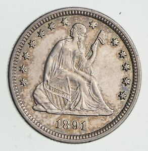 1891 SEATED LIBERTY SILVER QUARTER   NEAR UNCIRCULATED  0522