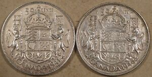 CANADA 1941  46 FIFTY CENTS OR HALF DOLLAR VF XF AS PICTURED