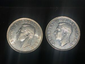 2 1950 CANADIAN SILVER DOLLARS   UNCIRCULATED FROM BOOK    SEE PHOTOS  CAN020