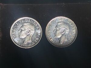 2 1951 CANADIAN SILVER DOLLARS   UNCIRCULATED FROM BOOK    SEE PHOTOS  CAN022