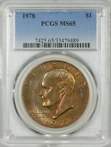 1978 EISENHOWER DOLLAR PCGS MS65   INCREDIBLE DEEP RED ORANGE TONING1