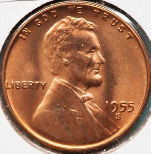 1955 S LINCOLN WHEAT CENT UNC  RED WOW LOOK   BIG PICS   NO SURPRISES.