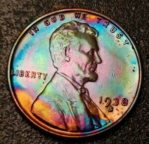 1938S RAINBOW COLORS  HIGH GRADE TONED COIN LINCOLN WHEAT PENNY CENT UNC
