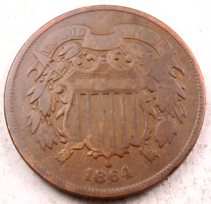 1864/1864 RPD TWO CENT  2 CENT    VF/XF   RE PUNCHED DATE ERROR 1029