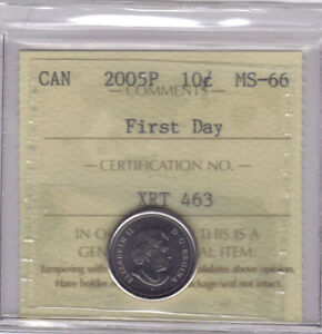 2005P   CANADIAN 10 CENTS   ICCS MS 66 FIRST DAY  NO SALES TAX