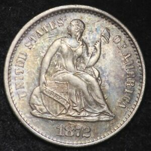 1872 S SEATED LIBERTY HALF DIME CHOICE UNC  E219 YLT