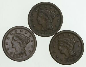LOT  3  1848 & 1851 BRAIDED HAIR LARGE CENTS  3231