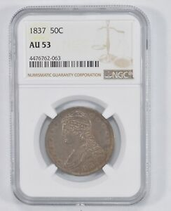 AU53 1837 CAPPED BUST HALF DOLLAR   NGC GRADED  1766