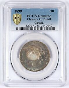 Click now to see the BUY IT NOW Price! 1898 CANADA SILVER 50 CENTS HALF DOLLAR AU DETAIL PCGS 50C