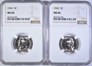 2 1965 JEFFERSON NICKELS NGC MS 66