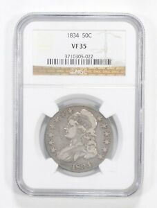 VF35 1834 CAPPED BUST HALF DOLLAR   GRADED NGC  5569