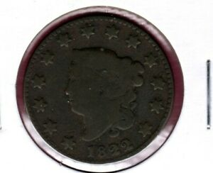 1822 CORONET HEAD LARGE CENT GRADES  GOOD  C2232