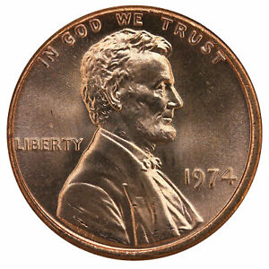 1974 LINCOLN MEMORIAL CENT BU PENNY US COIN