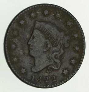 1822 MATRON HEAD LARGE CENT   CIRCULATED  9419