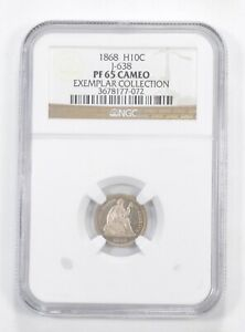 PF65 CAM 1868 SEATED LIBERTY HALF DIME   EXEMPLAR COLLECTION   GRADED NGC  5890
