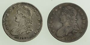 LOT  2  1830 & 1834 CAPPED BUST HALF DOLLARS   CIRCULATED  9002