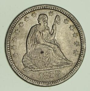 1858 SEATED LIBERTY SILVER QUARTER   VARIETY 1   CIRCULATED  2852