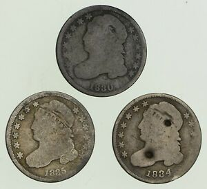 LOT  3  1830 1834 & 1835 CAPPED BUST DIMES   CIRCULATED  8974