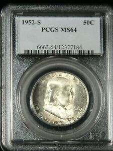 1952 S FRANKLIN HALF DOLLAR PCGS MS64 MOSTLY WHITE GREAT FROSTY LUSTER G699