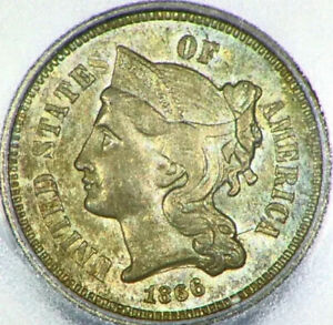 1866 3 CENT NICKEL 3C US ICG MS63 RETAINED CUD VARIETY ENCAPSULATED COIN I47
