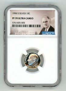 1996 S SILVER ROOSEVELT DIME 10C NGC PF 70 ULTRA CAMEO 5761605 005