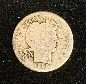 ABOUT GOOD 1898 S BARBER DIME PROBLEM FREE OLD SILVER 10C LIBERTY HEAD