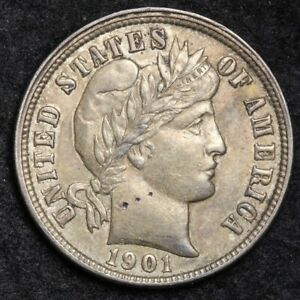 1901 O BARBER DIME UNCIRCULATED DETAIL  E246 T