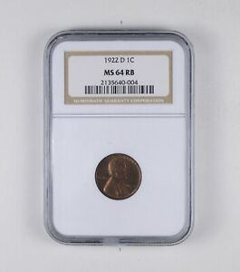 MS64 RB 1922 D LINCOLN WHEAT CENT   GRADED NGC  2011