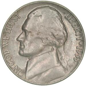 1955 JEFFERSON NICKEL ABOUT UNCIRCULATED AU