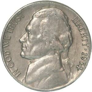 1954 S JEFFERSON NICKEL ABOUT UNCIRCULATED AU