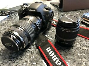 CANON EOS 7D 18.0MP DIGITAL SLR CAMERA WITH EF S 18 55MM AND EF  75300MM