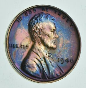 1940 LINCOLN WHEAT CENT   PROOF   TONED  7139