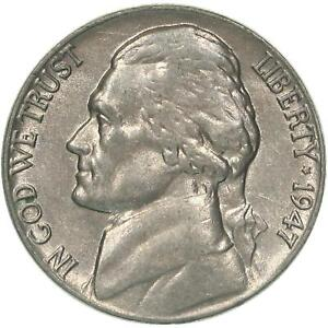 1947 JEFFERSON NICKEL ABOUT UNCIRCULATED AU