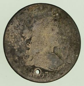 1807 DRAPED BUST QUARTER   CIRCULATED   HOLED  8781