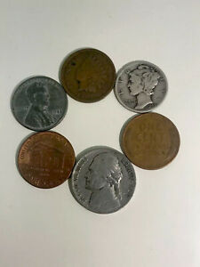 OLD US COIN LOT. INDIAN HEAD PENNY OLD NICKEL MERCURY DIME LOT OF 6 COINS