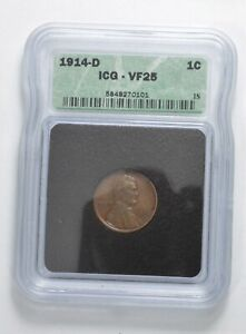 VF25 1914 D LINCOLN WHEAT CENT   GRADED ICG  5076