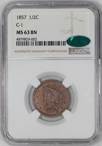 1857 BRAIDED HAIR HALF CENT 1/2C NGC CERTIFIED C 1 MS 63 BN  002