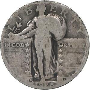 1928 D STANDING LIBERTY QUARTER 90  SILVER ABOUT GOOD AG