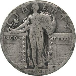 1928 S STANDING LIBERTY QUARTER 90  SILVER ABOUT GOOD AG