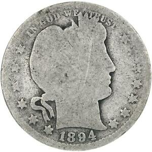 1894 O BARBER QUARTER 90  SILVER ABOUT GOOD AG