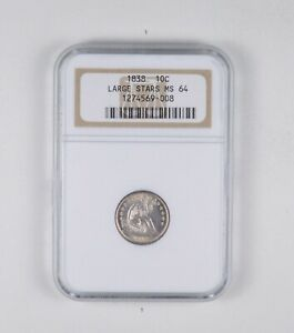 MS64 1838 SEATED LIBERTY DIME   LARGE STARS   GRADED NGC  2010